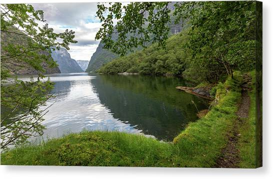 Canvas Print featuring the photograph Hiking The Old Postal Road By The Naeroyfjord, Norway by Andreas Levi