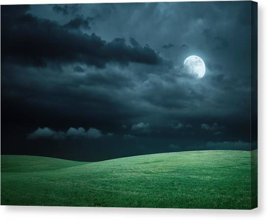 Hilly Meadow At Night With Full Moon Canvas Print