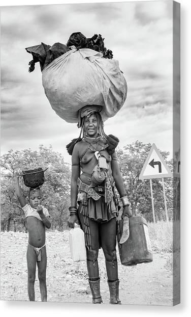 Himba Both Carrying  Canvas Print