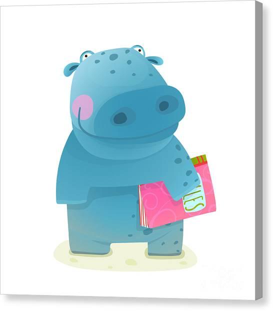 Student Canvas Print - Hippopotamus Kid With Book Study by Popmarleo