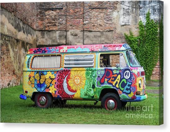 Hippie Dippie Vw Micro Bus Canvas Print