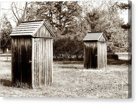 His And Hers Vintage Outhouses Pine Barrens Canvas Print