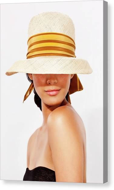 Hispanic Woman Wearing Hat To Protect Canvas Print