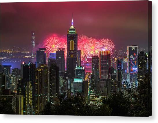Chinese New Year Canvas Print - Hkg Chinese New Year Fireworks 2013 by Coolbiere Photograph
