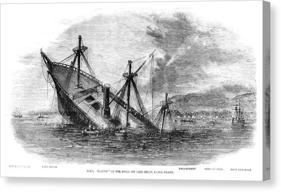 Hms Transit Wrecked Off Banca Island Canvas Print by Whitemay