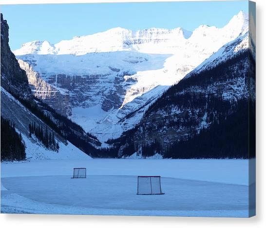 Hockey Net On Frozen Lake Canvas Print