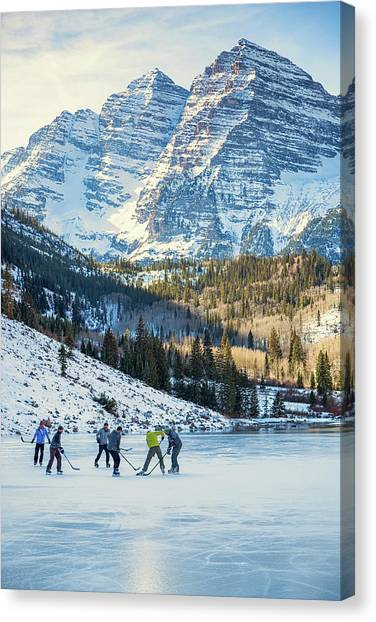 Canvas Print featuring the photograph Hockey On Maroon Lake Maroon Bells Aspen Colorado by Nathan Bush