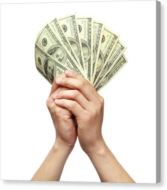 Holding Money With Both Hands Canvas Print by Kativ