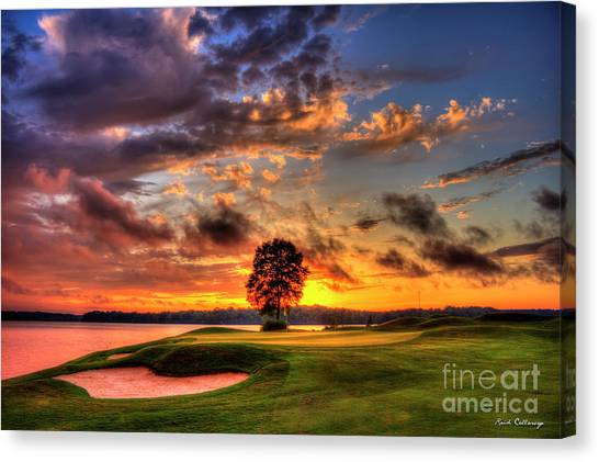 Jack Nicklaus Canvas Print - Hole In One Golf Sunset The Landing Golf Art  by Reid Callaway