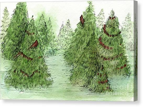 Holiday Trees Woodland Landscape Illustration Canvas Print