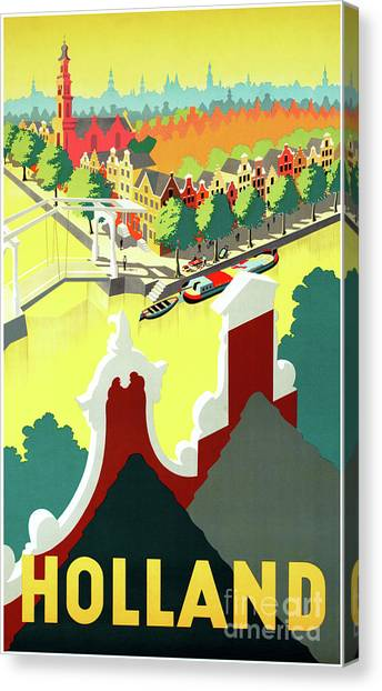 8eb8a3a8f41 Amsterdam Canal Canvas Print - Holland Vintage Travel Poster Restored by  Vintage Treasure