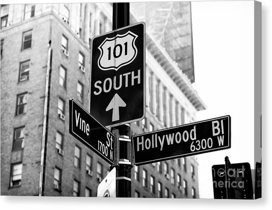 Hollywood And Vine Street Sign Canvas Print