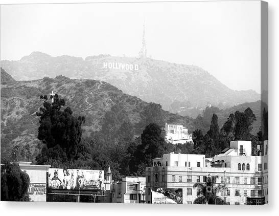 Hollywood Sign Black And White Canvas Print by John Rizzuto