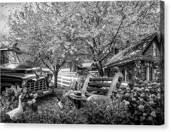 Rusty Truck Canvas Print - Home Is Where The Heart Is In Black And White by Debra and Dave Vanderlaan