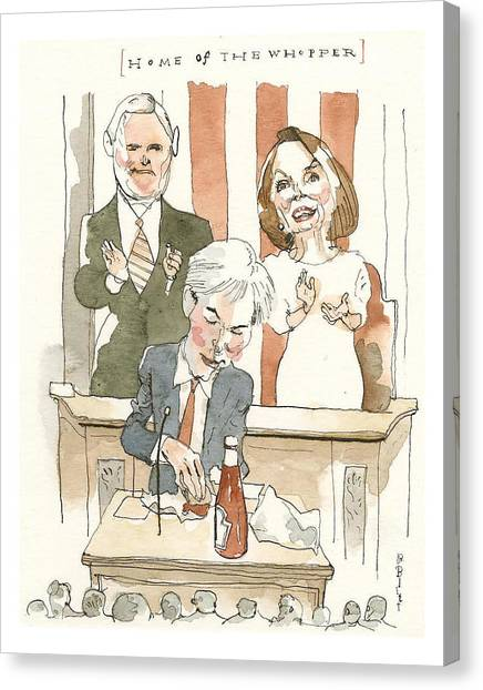 Home Of The Whopper Canvas Print by Barry Blitt