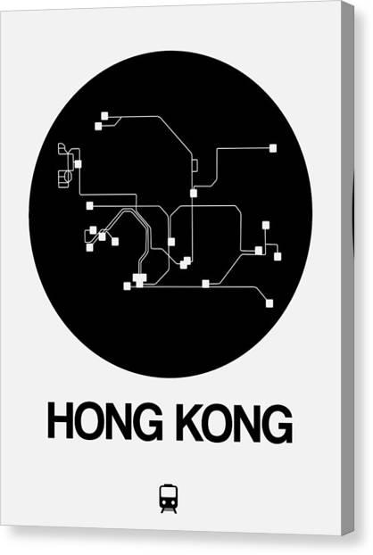 China Town Canvas Print - Hong Kong Black Subway Map by Naxart Studio