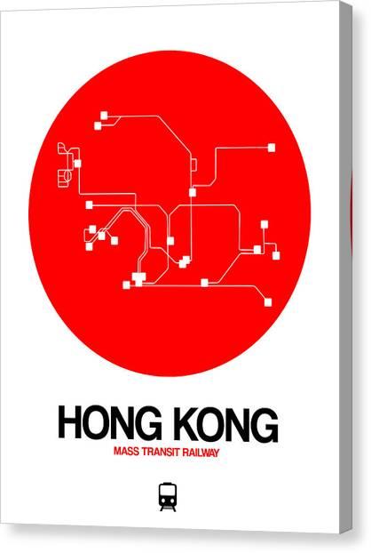 Old Train Canvas Print - Hong Kong Red Subway Map by Naxart Studio