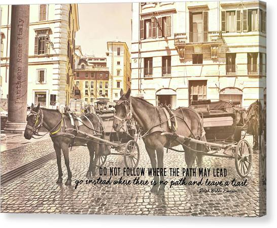 Hooves On Cobblestone Quote Canvas Print by JAMART Photography