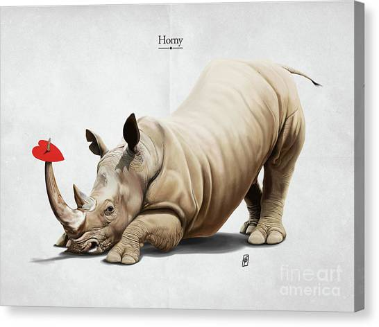 Canvas Print featuring the digital art Horny by Rob Snow