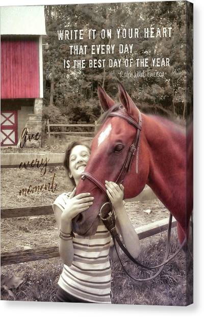 Horse Crazy Quote Canvas Print by JAMART Photography