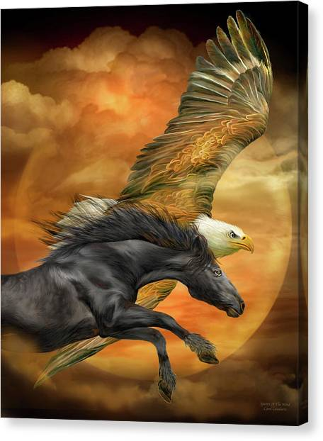 Canvas Print featuring the mixed media Horse And Eagle - Spirits Of The Wind  by Carol Cavalaris