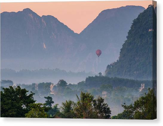 Canvas Print featuring the photograph Hot Air Ballon In Laos by Nicole Young