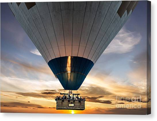 Basket Canvas Print - Hot Air Balloon In The Sky by Vlada Zhi