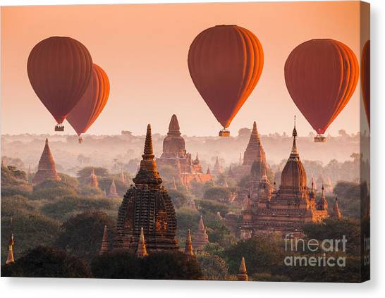 View Canvas Print - Hot Air Balloon Over Plain Of Bagan In by Lkunl