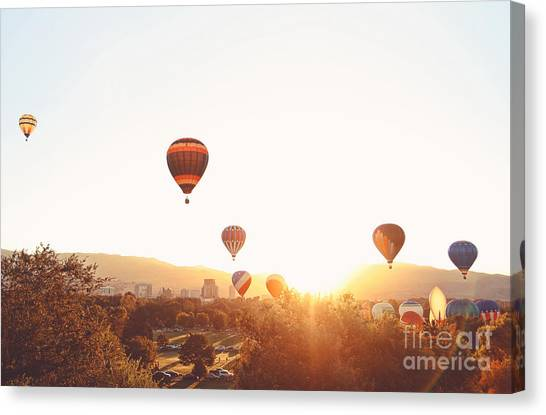 Basket Canvas Print - Hot Air Balloons In The Sky During by Annette Shaff