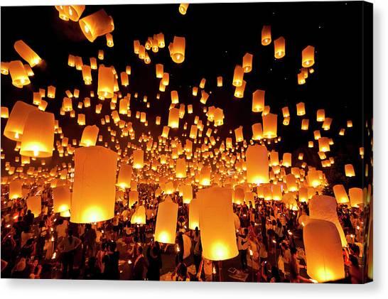 Chinese New Year Canvas Print - Hot Air Fire Lantern by Daniel Osterkamp