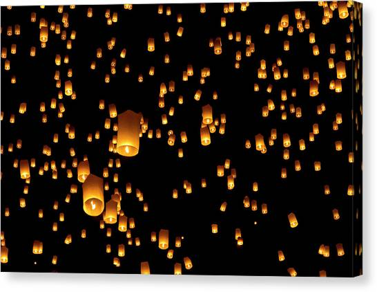 Chinese New Year Canvas Print - Hot Air Lanterns In Sky by Daniel Osterkamp