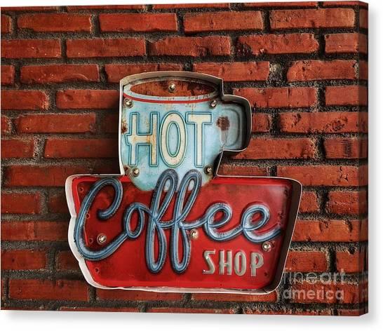 1950s Canvas Print - Hot Coffee Shop Vintage by 26april