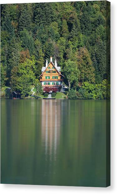 Canvas Print featuring the photograph House On The Lake by Davor Zerjav