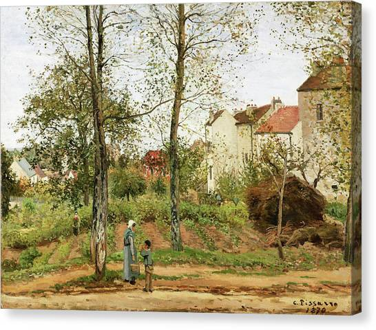 Camille Canvas Print - Houses At Bougival, Autumn - Digital Remastered Edition by Camille Pissarro