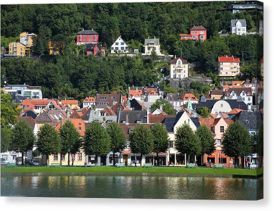 Houses By The Lille-lungegardvann Lake Canvas Print