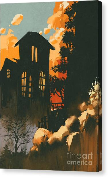 Acrylic Canvas Print - Houses In The Mountains Among by Tithi Luadthong