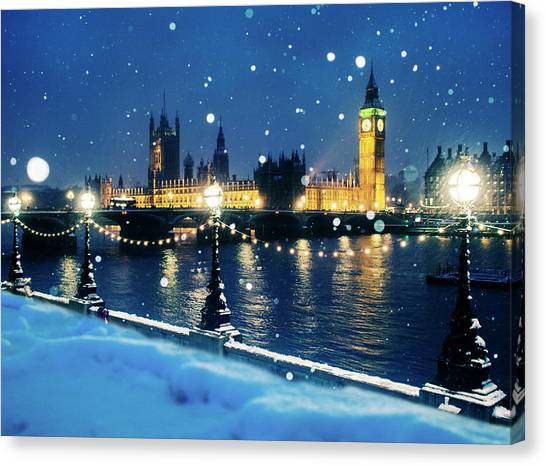 Snow Bank Canvas Print - Houses Of Parliament In Snow In London by Doug Armand