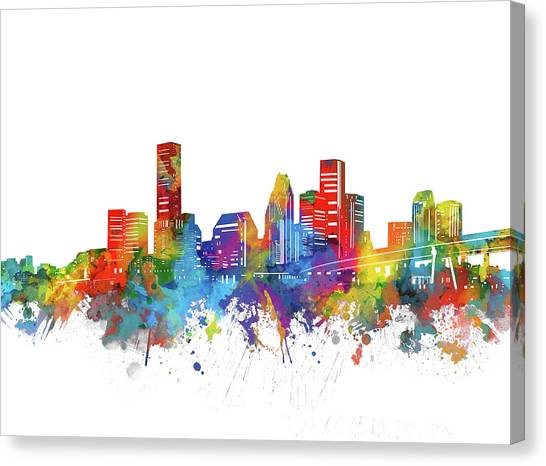 Houston Skyline Canvas Print - Houston City Skyline Watercolor by Bekim Art