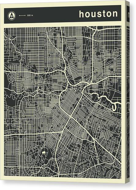 Houston Canvas Print - Houston Map 3 by Jazzberry Blue