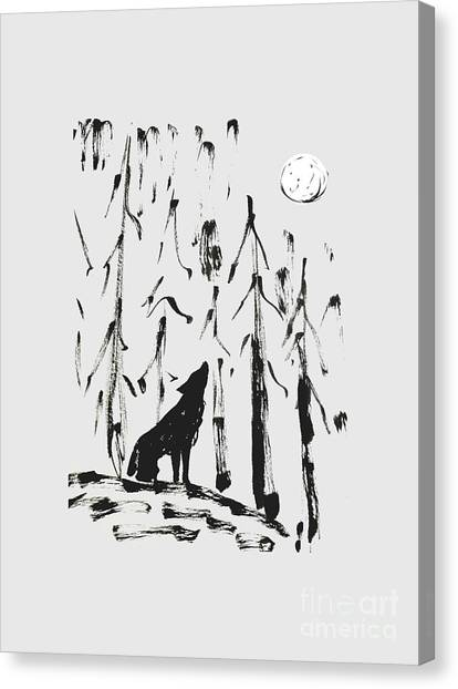 Canvas Print featuring the painting Howl #2 by Maria Langgle