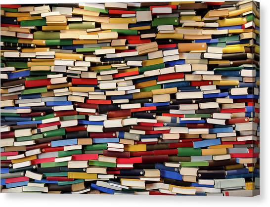 Huge Stack Of Books - Book Wall Canvas Print