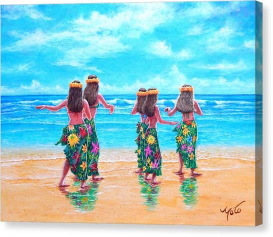 Hawaii Canvas Print - Hula Dancers Hawaii by John YATO