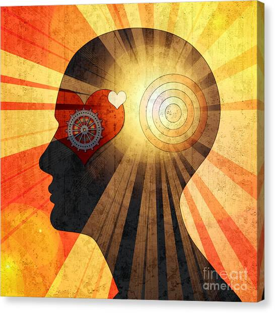 Flash Canvas Print - Human Head With Gears Heart Sun And by Patrice6000