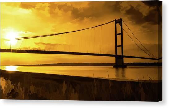 Humber Bridge Golden Sky Canvas Print