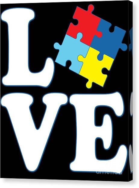 Canvas Print featuring the digital art I Love Autism by Flippin Sweet Gear