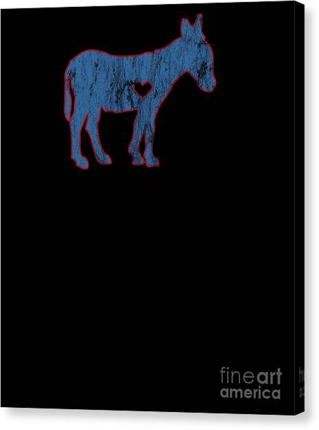 6043666641 Retro Tees Canvas Print - I Love Donkey Rider Jackass Mule Funny Democrat  Jockey Blue Red