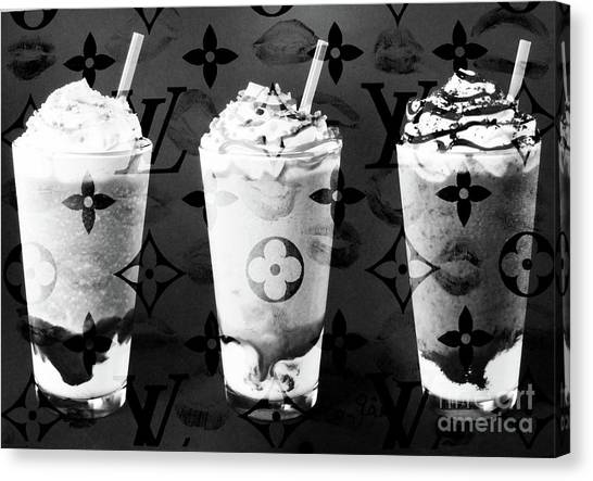 Jimmy Choo Canvas Print - I Love My Frappuccino In Bw by To-Tam Gerwe