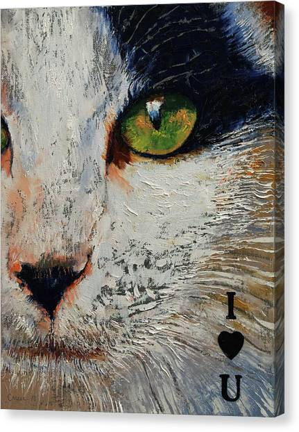 Tuxedo Canvas Print - I Love You Cat by Michael Creese
