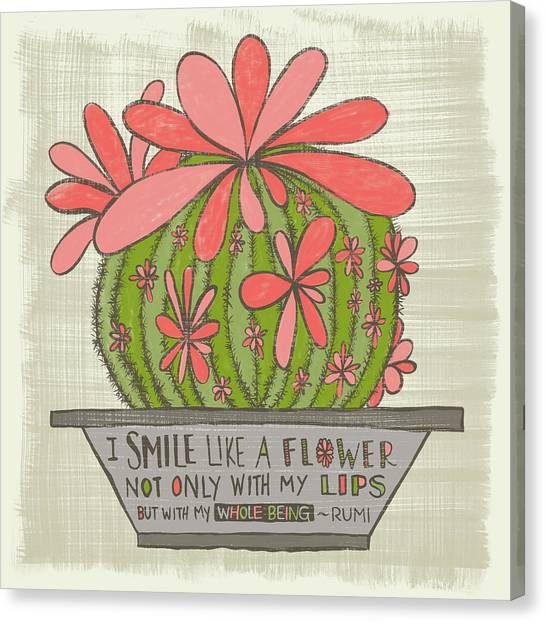 I Smile Like A Flower Rumi Quote Canvas Print
