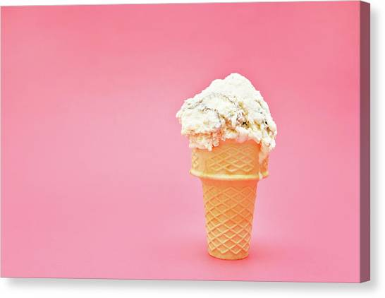 Ice Cream Cone On Pink Background Canvas Print